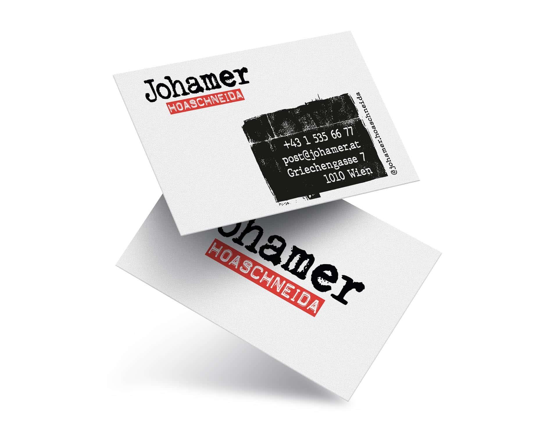 Johamer HoaschneidaBranding:Visitenkarten